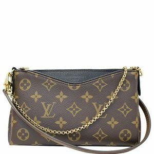 463e2ec8a Louis Vuitton. LOUIS VUITTON Pallas Clutch Crossbody Bag Brown